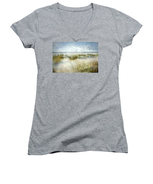 Women's V-Neck T-Shirt (Junior Cut) featuring the photograph Beach Dreams by Annie Snel
