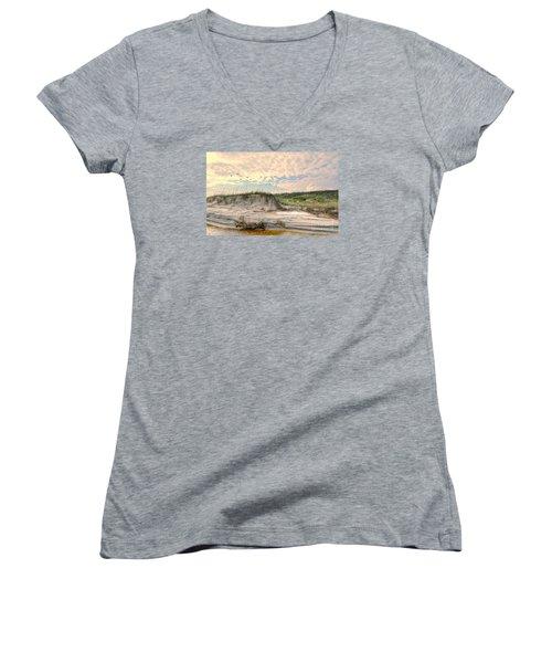Beach Dunes And Gulls Women's V-Neck T-Shirt (Junior Cut) by Kathy Baccari
