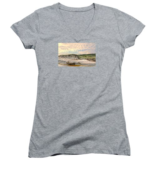 Beach Dunes And Gulls Women's V-Neck (Athletic Fit)