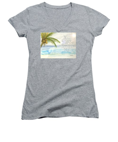 Women's V-Neck T-Shirt featuring the digital art Beach Etching by Darren Cannell
