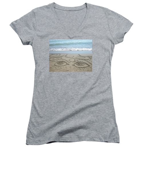 Women's V-Neck T-Shirt (Junior Cut) featuring the photograph Beach Eyes by Kim Prowse