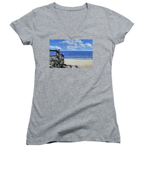 Beach Fence Women's V-Neck (Athletic Fit)
