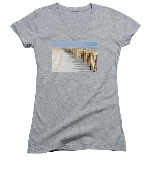 Beach Fence Shirley New York Women's V-Neck T-Shirt (Junior Cut) by Bob Savage