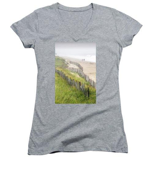 Beach Fences In A Storm Women's V-Neck T-Shirt (Junior Cut) by Betty Denise