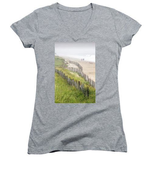 Beach Fences In A Storm Women's V-Neck T-Shirt