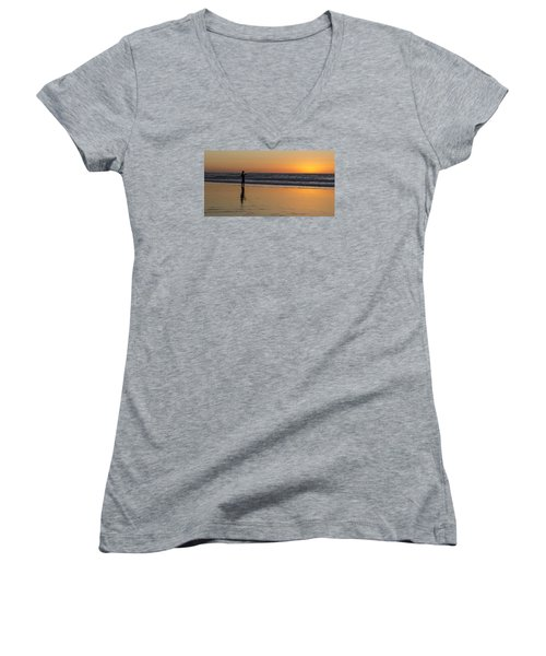 Beach Fishing At Sunset Women's V-Neck T-Shirt