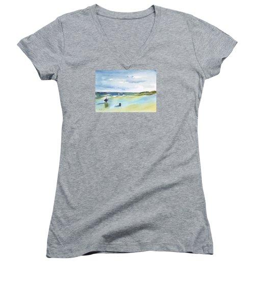 Beach Fishing Women's V-Neck T-Shirt (Junior Cut) by Frank Bright