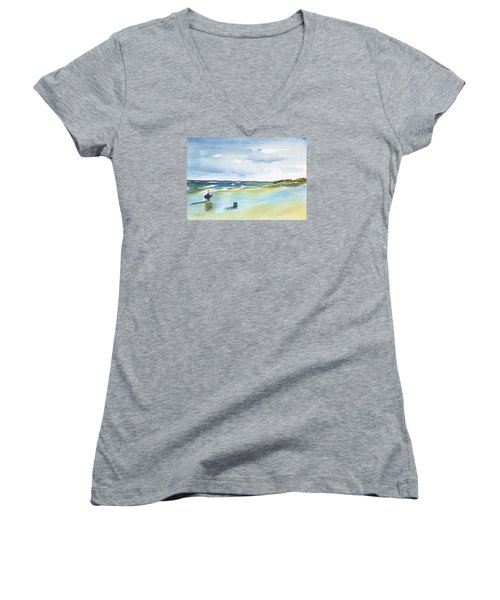 Beach Fishing Women's V-Neck (Athletic Fit)