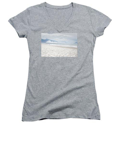 Beach For Two Women's V-Neck T-Shirt (Junior Cut) by Alex Conu
