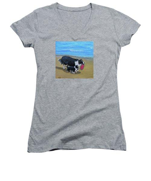 Beach Frisbee Women's V-Neck T-Shirt (Junior Cut) by Fran Brooks
