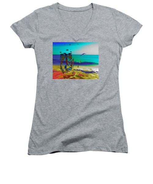 Beach Geometry  Women's V-Neck (Athletic Fit)