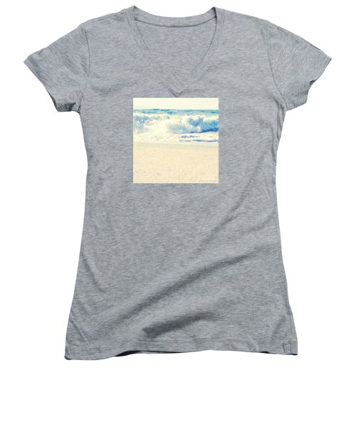Women's V-Neck T-Shirt featuring the photograph Beach Gold by Sharon Mau