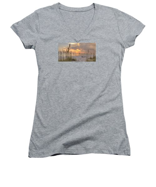 Beach Grass Sunset Women's V-Neck (Athletic Fit)