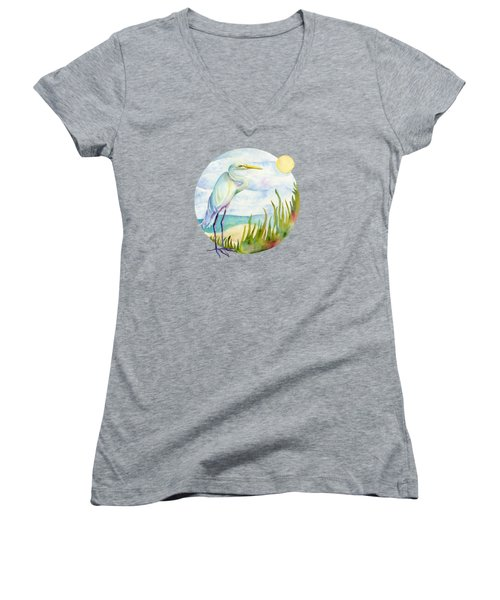 Beach Heron Women's V-Neck (Athletic Fit)