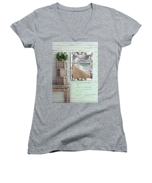 Women's V-Neck T-Shirt featuring the photograph Beach House By Kaye Menner by Kaye Menner