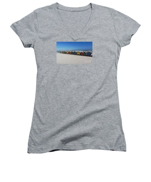 Women's V-Neck T-Shirt (Junior Cut) featuring the photograph Beach Houses by Bev Conover