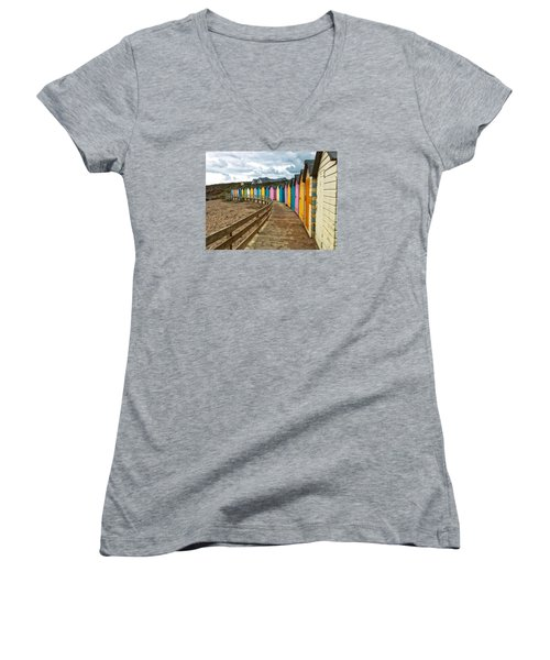 Beach Huts Women's V-Neck T-Shirt (Junior Cut) by RKAB Works