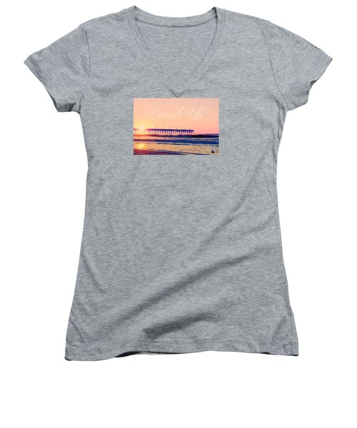 Beach Life Women's V-Neck T-Shirt (Junior Cut) by Kelly Nowak