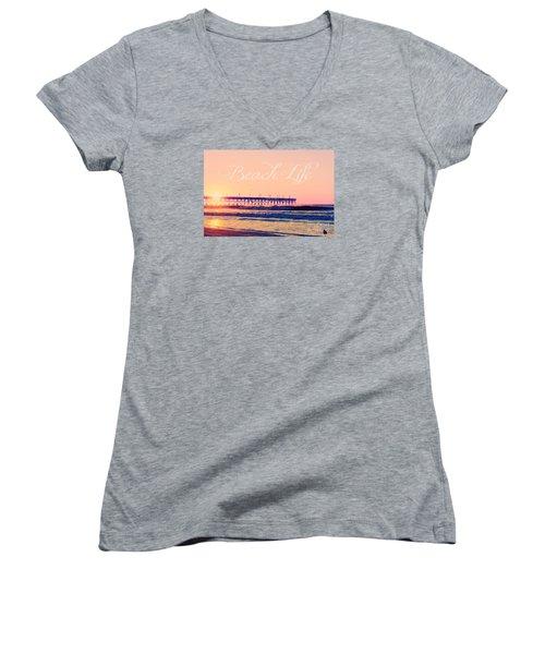 Women's V-Neck T-Shirt (Junior Cut) featuring the photograph Beach Life by Kelly Nowak