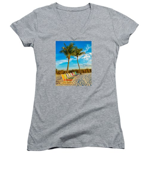 Beach Lounges Under Palms Women's V-Neck T-Shirt (Junior Cut) by Robert FERD Frank