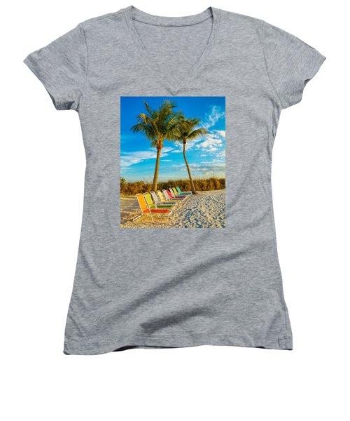 Beach Lounges Under Palms Women's V-Neck