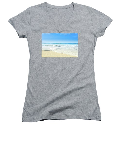 Women's V-Neck T-Shirt featuring the photograph Beach Love Summer Sanctuary by Sharon Mau