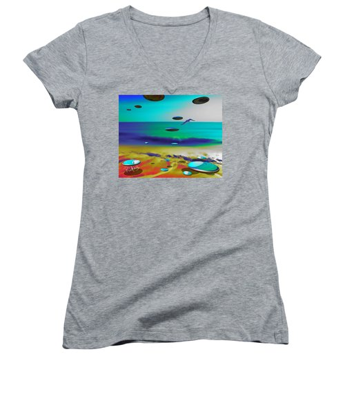 Beach Orbs Women's V-Neck (Athletic Fit)