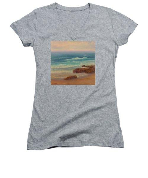 Beach Painting Beach Rocks  Women's V-Neck