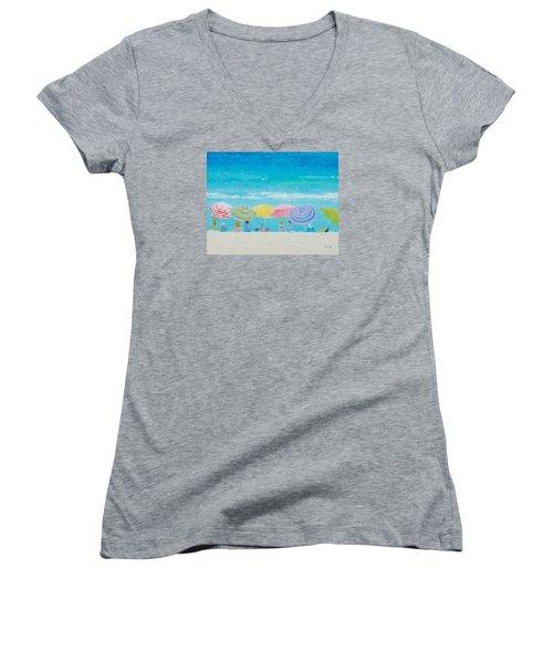 Beach Painting - Color Of Summer Women's V-Neck T-Shirt (Junior Cut) by Jan Matson