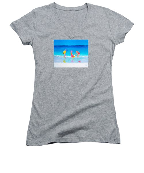 Beach Painting - Water Play  Women's V-Neck T-Shirt