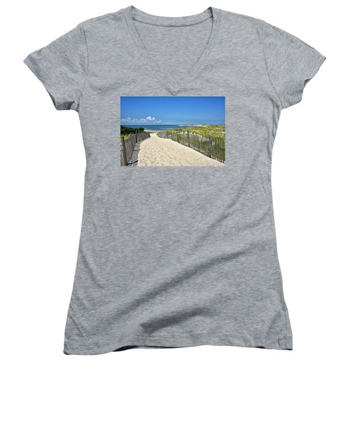 Women's V-Neck T-Shirt (Junior Cut) featuring the photograph Beach Path At Cape Henlopen State Park - The Point - Delaware by Brendan Reals