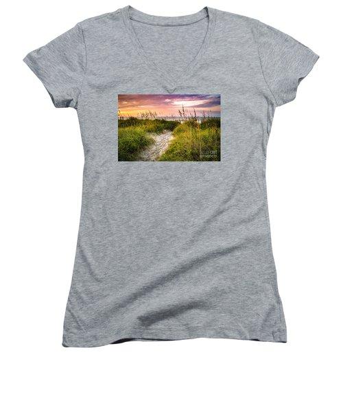 Beach Path Sunrise Women's V-Neck T-Shirt (Junior Cut) by David Smith
