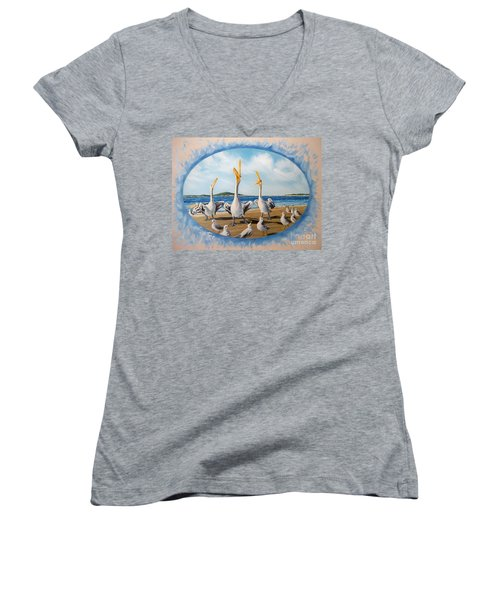 Women's V-Neck T-Shirt (Junior Cut) featuring the painting Beach Platoon by Sigrid Tune