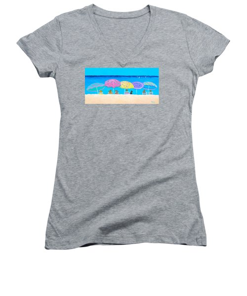 Beach Sands Perfect Tans Women's V-Neck T-Shirt