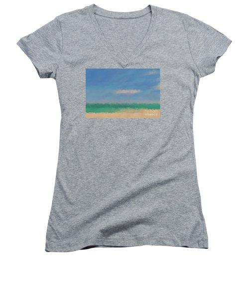 Beach Scene 6. Modern Decor Collection Women's V-Neck T-Shirt (Junior Cut) by Mark Lawrence