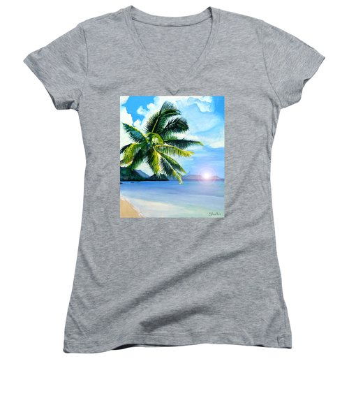 Women's V-Neck T-Shirt (Junior Cut) featuring the painting Beach Scene by Curtiss Shaffer