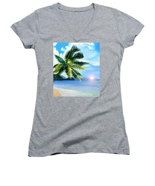 Beach Scene Women's V-Neck T-Shirt (Junior Cut) by Curtiss Shaffer
