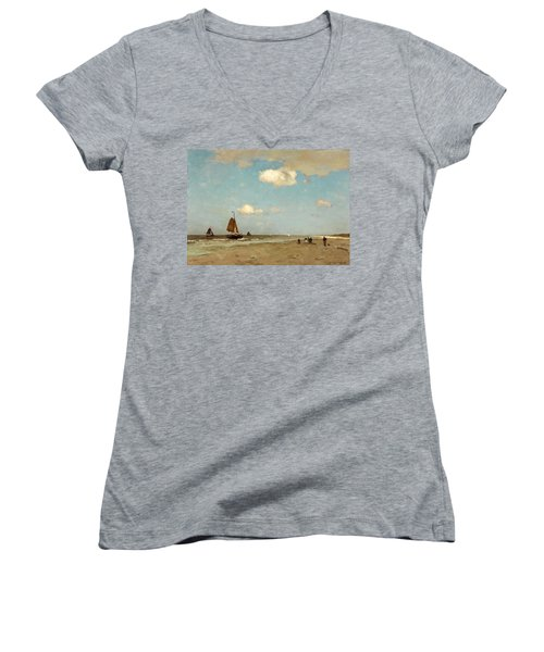 Women's V-Neck T-Shirt (Junior Cut) featuring the painting Beach Scene by Jan Hendrik Weissenbruch