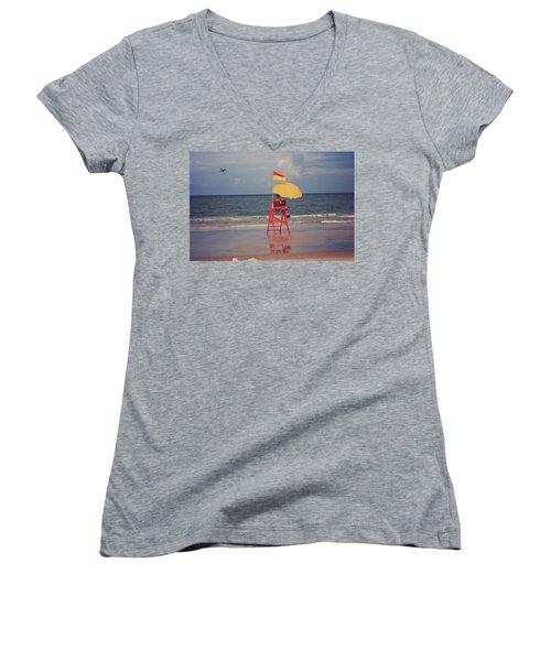 Beach Sentinel Florida Women's V-Neck T-Shirt
