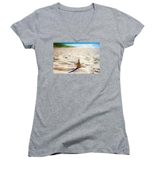 Beach Starfish Wood Texture Women's V-Neck T-Shirt (Junior Cut) by Dan Sproul