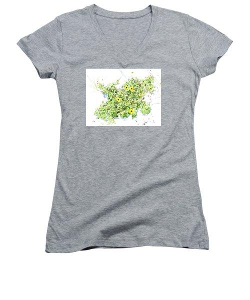 Beach Sun Flowers Women's V-Neck T-Shirt