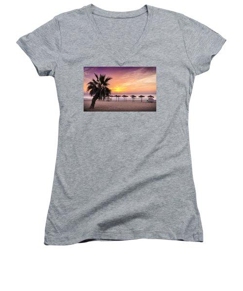 Beach Sunrise. Women's V-Neck
