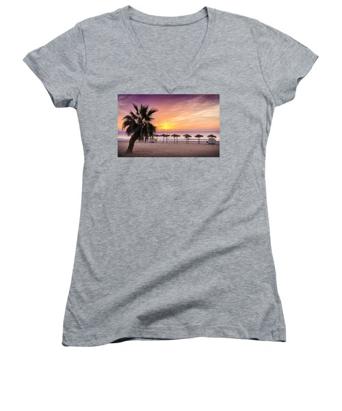 Beach Sunrise. Women's V-Neck