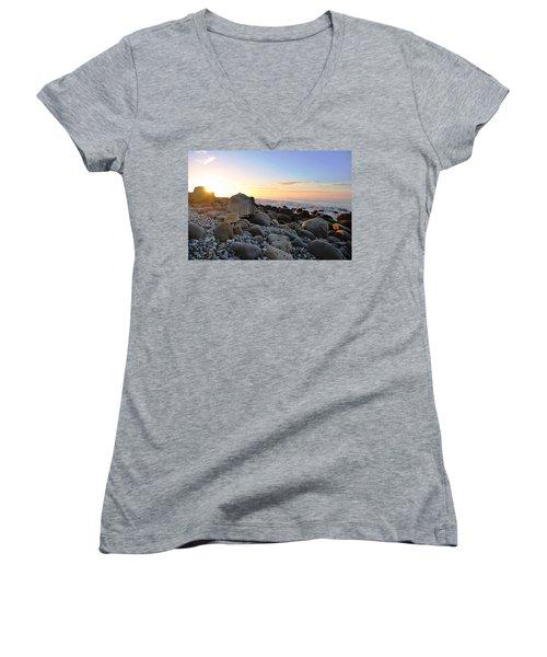 Beach Sunrise Over Rocks Women's V-Neck T-Shirt (Junior Cut) by Matt Harang