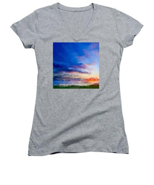Beach Sunset Women's V-Neck T-Shirt (Junior Cut) by Anthony Fishburne
