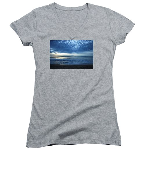 Beach Sunset - Blue Clouds Women's V-Neck (Athletic Fit)