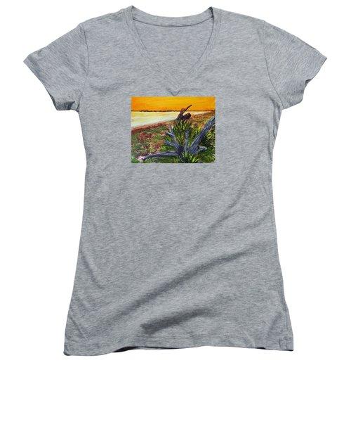 Beach Sunset Women's V-Neck T-Shirt (Junior Cut) by Jack G  Brauer