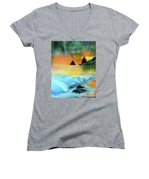 Beach Sunset Women's V-Neck T-Shirt (Junior Cut) by Jenny Lee