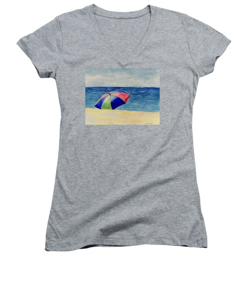 Women's V-Neck T-Shirt (Junior Cut) featuring the painting Beach Umbrella by Jamie Frier