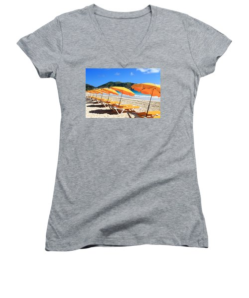 Beach Umbrellas Women's V-Neck (Athletic Fit)